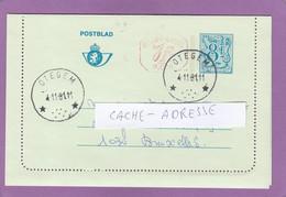 CARTE-LETTRE D'OTEGEM ,LION H. 8FRS + 1FRS, POUR BRUXELLES,1981. - Postbladen