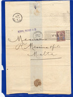 ##(DAN2102)-Great Britain 1899- QV 5d On No Text Bend Letter From London To  Malta, V Crown R Cancel - Storia Postale
