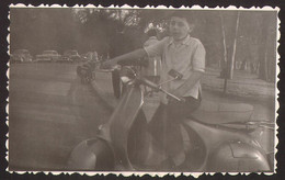 Child Boy On Motorcycle VESPA Scooter Old Photo 11x7 Cm #32107 - Anonymous Persons