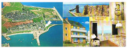 Helgoland Doppel Werbekarte Haus Dünenblick Luftbild Fliegeraufnahme Kurpromenade - Non Classificati