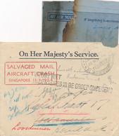 "Australia - 1954 - Crashmail BOAC ""Belfast"" - SALVAGED MAIL AIRCRAFT CRASH SINGAPORE Etc Forwarded In Service Cover - Briefe U. Dokumente"