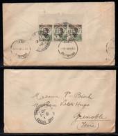 KOUANG TCHEOU - FORT BAYARD / 1930 BANDE DE 3 BDF SUR LETTRE ==> GRENOBLE  (ref 5259) - Covers & Documents