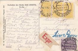ÖSTERREICH EXPRESS ROHRPOST 1924 - 3 X 500 Kronen + 1000 K Auf Ak Hochaltar Der Kirche Stift ZWETTL - Errores & Curiosidades