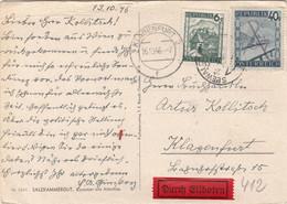 ÖSTERREICH EXPRESS 1946 - 6 + 40 Gro Auf Ak KAMMER AM ATTERSEE, Transportspuren - Errores & Curiosidades