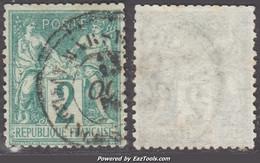 *RARE* 2c Sage Au Type 1 (N/B) Oblitéré Aspect TB (Y&T N° 62, Cote:  +340€) - 1876-1878 Sage (Typ I)