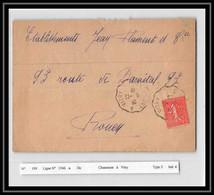 20399 Semeuse 50c Convoyeur Ligne 1546a Chaumont A Vitry France Lettre Ferroviaire - Railway Post