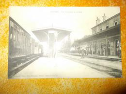 Cpa Ribérac Vue Intérieure De La Gare Train à L'arret - Riberac