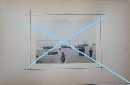 Photo Pêche Visser Pêcheur Boot Vers 1900 Bateau Schip Kust Visserij Vis Oostende ? Zeebrugge ? - Schiffe
