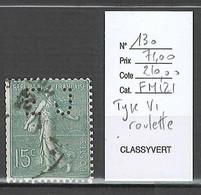 France - Yvert 130 - Type VI De Roulette - 15 Centimes Vert Gris - Varietà: 1900-20 Usati