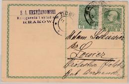 Österreich/Polen - 5 H. GA-Karte+Zusatz, Krakau - Lowiez 1914 - Enteros Postales