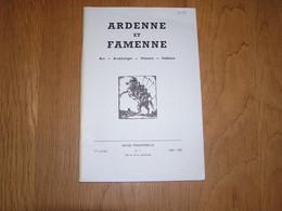 ARDENNE ET FAMENNE N° 1 Année 1968 69 Régionalisme Archéologie Doyenné Bastogne Narcimont Bovigny Wéris Erneuville Cens - België