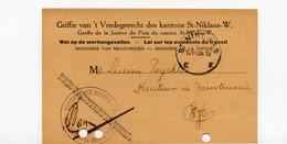 1936 Portvrijdom Kaart Griffie Vredegerecht Kanton St Niklaas - Naar Lucien Reychler Teinturerie - Docteur - Professeur - Postcards [1934-51]