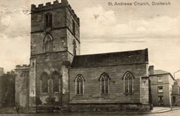 ST ANDREWS CHURCH DROITWICH OLD B/W POSTCARD WORCESTERSHIRE - Worcestershire