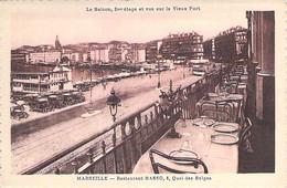 13 - MARSEILLE 1° - Restaurant BASSO 5, Quai Des Belges : Balcon Terrasse - Jolie CPSM Sépia Dentelée Format CPA - Oude Haven (Vieux Port), Saint Victor, De Panier
