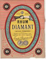 ***  ETIQUETTE RHUM ****  Martinique - étiquette Parafinée - Rhum Diamant Emile BOUQUIER Sur Support Papier - Rhum