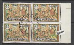 ANDORRA CORREO ESPAÑOL BLOQUE DE 4 SELLOS UNO VARIEDAD FALDA COLOR VERDOSO (S.2) - Used Stamps