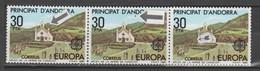 ANDORRA CORREO ESPAÑOL 3 SELLOS  PUNTOS ROJOS Y PUNTO NEGRO ROJO  (S.2) - Used Stamps