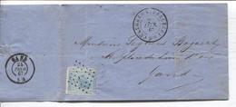 REF3399/ TP 18 S/LAC Gruwé & Facon Bougies,Pétrole & Commerce Charbon C.Curreghem (Anderlecht) 1867 + LOS PTS 7 > Gand - Postmarks - Points
