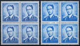 België 1069B.P3 + 1069B.P3a ** - Koning Boudewijn - Met Bril - Type Marchand - Blauw + Turkooisblauw - Blok Van 4 - 1953-1972 Bril