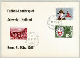 Schweiz / Helvetia 1963, Sondercouvert Fussball-Länderspiel Schweiz _ Holland - Unclassified