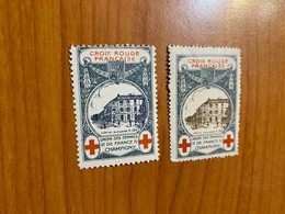 Lot De 2 Vignettes - Croix Rouge Champigny - Militaire - Rode Kruis