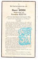 DP Henri Sioen ° Moorslede 1860 † 1937 X Romanie Bostyn - Devotieprenten