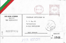 Macau Registered Cover To West Germany Meter Stamp - Covers & Documents