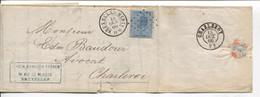 REF3400/ TP 18 S/LAC Vanden Branden Frères C.BXL (Midi) 1866 + LOS PTS 62 > Charleroi C.d'arrivée - Postmarks - Points