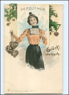 V010/ Weihnachten  Frau Mit Lebkuchenherz  Litho AK Ca.1900 - Unclassified