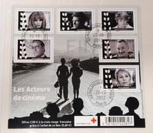 FRANCE BF4690 Bloc Feuillet ACTEURS CINEMA 2012 Oblitéré 1er Jour Avec Gomme SERVICE PHILATELIQUE POSTE 4690/4695 - Afgestempeld