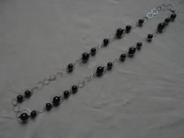 Vintage - Bijou Fantaisie - Collier Long Chaine Argentée Perles Noirs - Necklaces/Chains