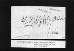 Cg8 - Lettera Da Landiana Per Novara 13/8/1840 - Annullo Di Carpignano E Romagnano In Transito - ...-1850 Préphilatélie