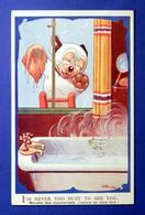 BONZO POSTCARD VALENTINE 2665 BATHTUB WINDOW WASHER S/ G E STUDDY AP00168 - Hunde