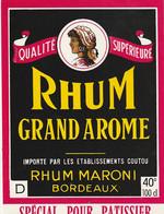***  ETIQUETTE RHUM ****  RHUM  Grand Arôme Rhum Maroni Bordeaux -  100cl - Rhum