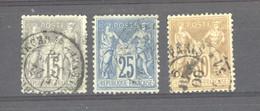 CLX  1101  -  France  :   Yv  77...80  (o)  3 Valeurs  Obl. Boulevard Saint Germain - 1876-1898 Sage (Type II)