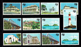 Fiji 1992, 1994 Buildings & Scenery Set Of 12 MNH - Fiji (1970-...)