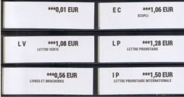 6 ATMS, IMPRIMANTE INTERMEC PC43, Relais Poste Urbain(RPU) 0.01/0.56/ EC 1.06/ LV 1.08 / LP1.28/ IP 1.50€ NOUVEAU PAPIER - 2010-... Viñetas De Franqueo Illustradas