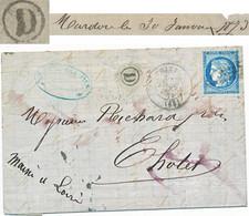 RHONE LAC 1873 THIZY BOITE RURALE D = MARDORE - 1849-1876: Classic Period