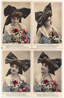 (10/02/21) FANTAISIES ALSACE-CPA FLEURS D'ALSACE - SERIE DE 4 CARTES - COIFFE ALSACIENNE - Women