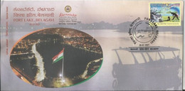 Special Cover, Fort Lake Also Known As Kote Kere, National Tourism Day, Flag, Floating Resturant At Lake - Cartas