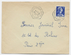 N° 1011B LETTRE C. HEX PERLE VILLENEUVE S/YONNE 22.1.1958 CP N°4 YONNE - Bolli Manuali