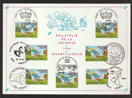 RR FDC - BD Schtroumpf En Facteur Des Postes - Philatélie De La Jeunesse - 1984 + 7 Cachets Différents - Timbre N° 2150 - 1981-90