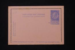 BELGIQUE - Entier Postal ( Carte Lettre Pour L 'Etranger ) Type Léopold II, Non Circulé - L 88290 - Cartas-Letras