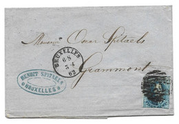 Nr 11 Sur Lettre Bruxelles - Grammont   3-4-1862  Benoit Spitaels   3 Scans - 1849-1865 Medallones (Otros)