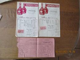 BENEDICTINE LA GRANDE LIQUEUR FRANCAISE FACTURES A.VANDERCRUYSSEN-LELEU A DOUAI DES 2 ET 29 MAI 1941 TIMBRES FISCAUX D.A - Advertising