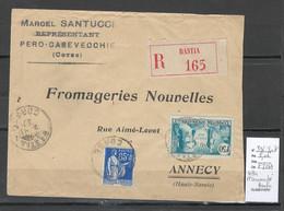 France  -Lettre Recommandée  De Bastia - Corse -1937 - Yvert 336 - 1921-1960: Periodo Moderno