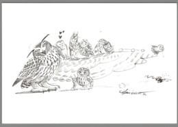 CPM - Hibou Et Chouette - Dessin D'Alexis Nouailhat - Pájaros