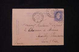 BELGIQUE - Entier Postal De Liège Pour La France En 1888 - L 88323 - Cartas-Letras