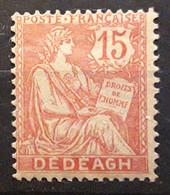 DEDEAGH, 1902, Type Mouchon,  Yvert No 12 A, 15 C Vermillon,  Neuf * MH TB - Neufs
