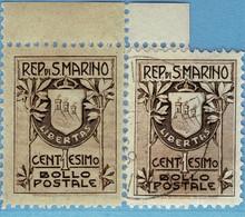 SAN MARINO 47 I/II **/° Jugendstilmarke 1907 = Scott #78/79 = SAINT-MARIN Yvert 47/48A - Unused Stamps
